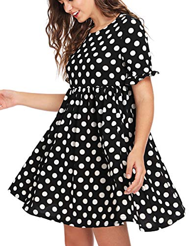 Romwe Women's Polka Dot Printed Short Sleeve Flared Swing Cocktail Party Dress Black XL