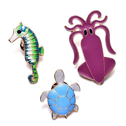 Custom Enamel Pins - Womens Girls Cartoon Enamel Lapel Pin Set Cute Animal Turtle Octopus Hippocampus Brooches Pins Badge for Clothing Bag Decor