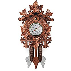 VT BigHome Vintage Home Decorative Bird Wall Clock Hanging Wood Cuckoo Clock Living Room Pendulum Clock Craft Art Clock For New House