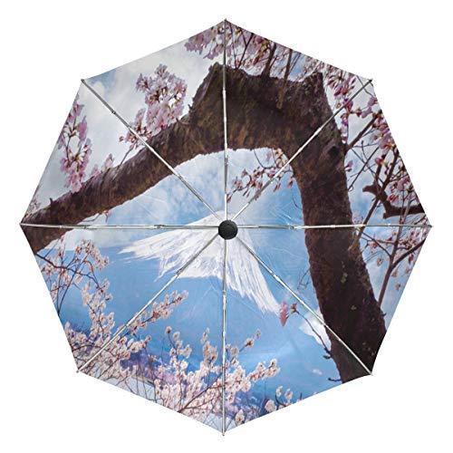 Travel Umbrella Windproof, Japanese Cherry Blossom Black Glue Anti UV Coating, Compact Folding Umbrellas Auto Open Close,for Women Men]()