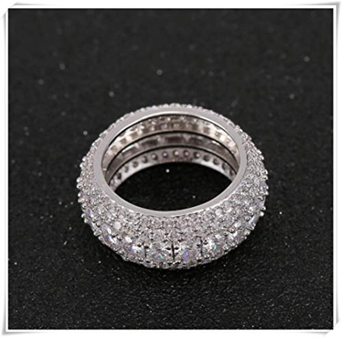 - hong ben xie chang Men's Five Rows Full of Diamond Rings. What Size do You Need? (8, Silver)