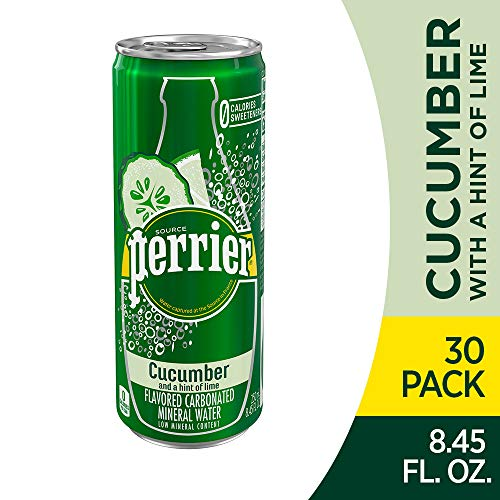 (Perrier Cucumber Lime Flavored Carbonated Mineral Water, 8.45 Fl Oz Cans, Pack of 30)
