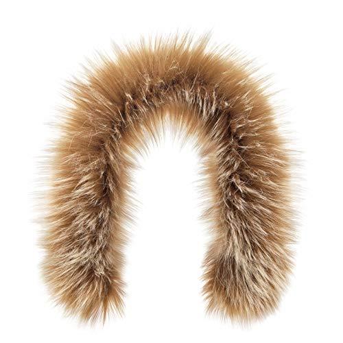 - Futrzane Trim Hood Faux Fake Fur Hood Winter for Jacket Ski Collar Wrap Shawl (M, Brown with White)