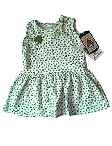 (NCAA Notre Dame Fighting Irish Shamrock Print Dress, White, Toddler 2)