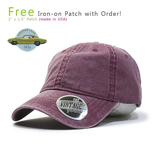 Vintage Washed Dyed Cotton Twill Low Profile Adjustable Baseball Cap (Maroon 70P) (Twill Cotton Beanie)
