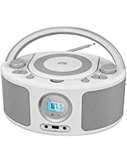CD Radio Portable CD Player Boombox with Bluetooth,FM Radio, USB Input and 3.5mm AUX Headphone Jack,CD-R/CD-RW/MP3/WMA Playback (Gray)