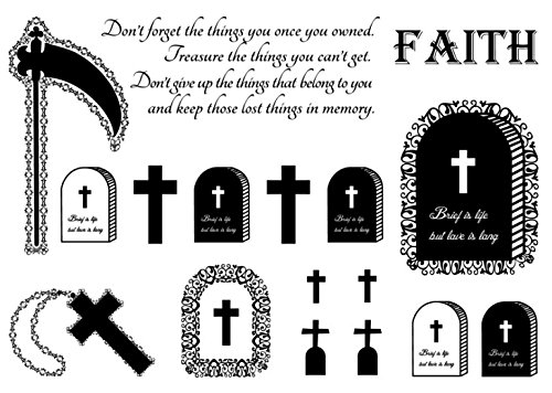 Set of 2 Waterproof Temporary Fake Tattoo Stickers Cool Grim Reaper Cemetery Faith