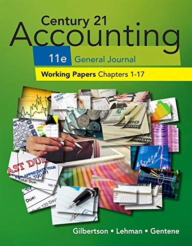 Century 21 Accounting General Journal Working Papers 1-17 Se