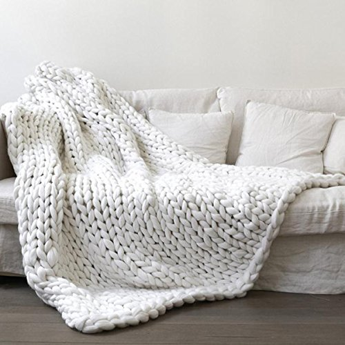 White Super Chunky Knitted Blanket,Arm Knitting Giant Merino Wool Blanket,Handmade 50x70in Thick Wool Yarn Throw,New Year Gift by Clisil (Image #3)