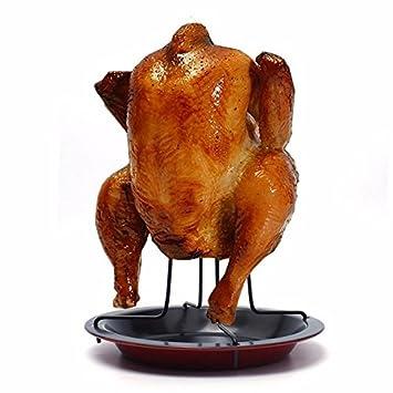 Posavasos de pollo, WindGoal al aire libre, camping, vertical pollo, asado, aves, barbacoa, asador, bandeja para hornear: Amazon.es: Hogar