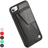 iPhone 7 Wallet Case / iPhone 8 wallet case, ZVE iPhone 7 / 8 Case, Leather iPhone 7 / 8 Card Holder Cases, Durable Shockproof Cover Design for Apple iPhone 7 (2016) / iPhone 8 (2017) - Black