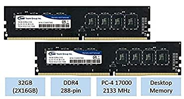 TeamGroup 32GB kit (2 X 16GB) DDR4 2133 MHz DIMM 288 Pin Desktop Memory RAM - TED416G2133C1501