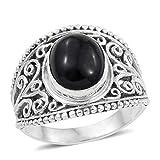 925 Sterling Silver Oval Black Jade Ring