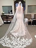 Venusvi Lace Edge Cathedral Length Wedding Bridal Veil Comb (White)