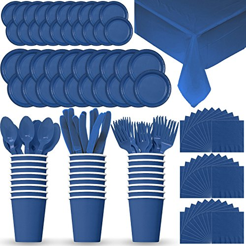 Disposable Paper Dinnerware for 24 - Blue - 2 Size plates, Cups, Napkins , Cutlery (Spoons, Forks, Knives), and tablecovers - Full Party Supply Pack