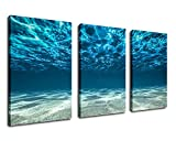 """Image of Sea Canvas Wall Art Waves Canvas Prints Ocean Artwork 30"""" x 60"""" - 3 Pieces Large Blue Canvas Art Clear Teal Water Sands Beach Underwater Painting Pictures for Living Room Bedroom Decoration"""