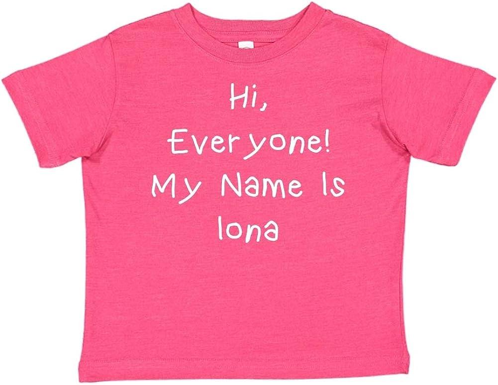 Mashed Clothing Hi Everyone Personalized Name Toddler//Kids Short Sleeve T-Shirt My Name is Iona