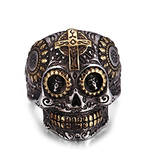 Eamaott Ghost Skull Stainless Steel Cross Ring Men Personalized Vintage Halloween Ring Jewelry Size 10