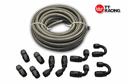 6 AN-6 AN6 Stainless Steel Braided Fuel Gas Oil Line Hose 20FT + Swivel Black Fitting Kit - Aluminum Braided Fuel Lines