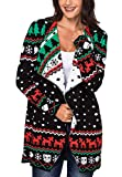 Product review for sidefeel Women Christmas Reindeer Geometric Open Front Long Sleeve Cardigan
