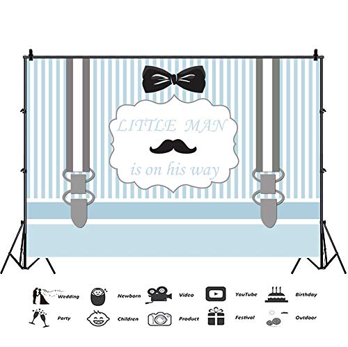 Necktie Background Black (Baocicco 9x6ft Little Man is on His Way Baby Shower Photography Backdrops Black Necktie Mustache Blue Stripes Backgrounds Blue Suspender Trousers It's a Boy Photo Studio Video Shooting Props Booth)