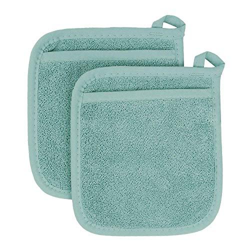 AZ COLLECTION 100% Cotton Terry Cloth Pot Holder Set, Kitchen Hot Pad Heat-Resistant (2, Aqua Blue) ()