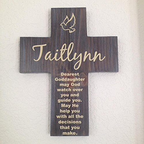 Amazon goddaughter cross personalized with his name on pine goddaughter cross personalized with his name on pine wood w dove may god watch negle Image collections