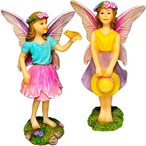 Mood Lab Fairy Garden - Fairy Figurines - Miniature Garden Kit - Walking Girls Set of 2 pcs for Outdoor or House Decor (Set Small Village)