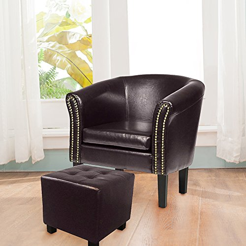MAGIC UNION Faux Leather Contemporary Barrel Back Chair Club Seat Nail Heads (Upholstery Living Room Ottoman)