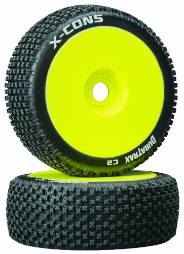 Duratrax X-Cons 1:8 Scale RC Buggy Tires with Foam Inserts, C2 Soft Compound, Mounted on Yellow Wheels (Set of - C2 Yellow