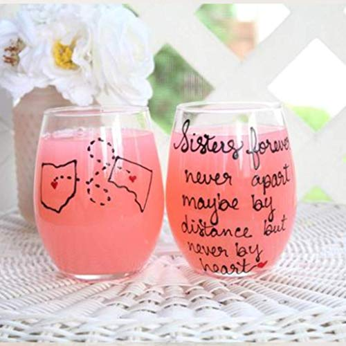 Personalized Sisters Heart - Sisters Long Distance Sister Wine Glass, Personalized Sister Gift, All Countries and States Available Hand Painted Stemmed or Stemless Wine Glass