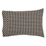 VHC Brands Classic Country Primitive Bedding - Check Pillow Case Set, Black, Standard