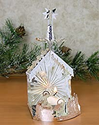 Nativity Scene Candle Holder with Spinning Stars - Laser Cut Plated Silver - Scandinavian Design