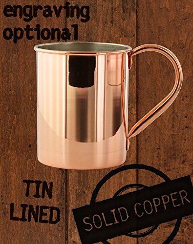 13.5oz Tin-Lined Solid Copper Moscow Mule Mule - Custom Engraved -