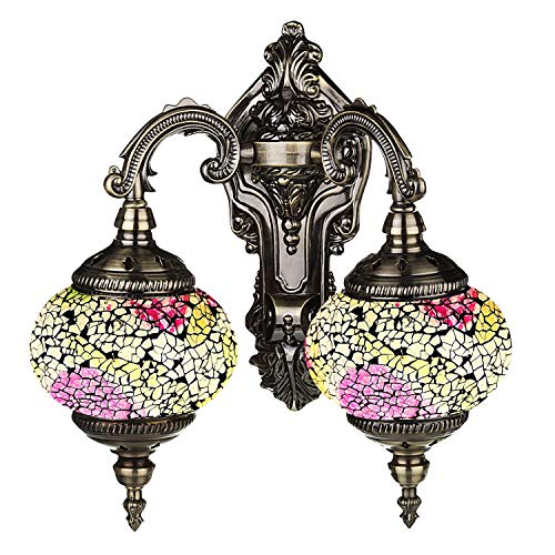 (Mosaic Lamp-Handmade Turkish Mosaic Double Wall Lamp with Mosaic Lantern, Bronze Base, Unique Double Glass Mosaic Wall Light for Room Decoration (White,Yellow))