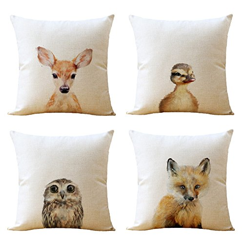 Pc Just (WOMHOPE 4 Pcs [Just Covers] - Animal Watercolor Patern Cotton Linen Pillow Covers Throw Covers Square Cushion Pillowcase Decorative Pillow Shams (Owl (Set of 4 pcs)))