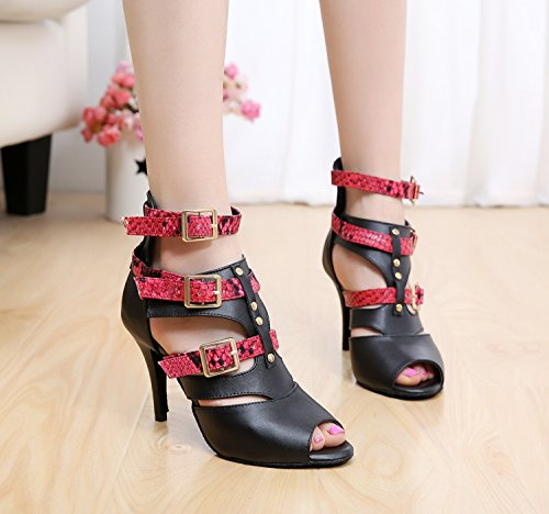 Black Dance Latin 6 Strap Red Leather Ballroom GQJ6178 MINITOO M Buckle Boots Womens Ankle 5 UK Sandals Ankle nxHw1WRYq