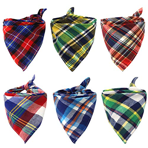 6 Pack of Dog Bandana Washable Reversible Triangle Bibs Scarf, Plaid Painting Kerchief for Small/Medium Dogs and Cats (Dog Small Bandana)