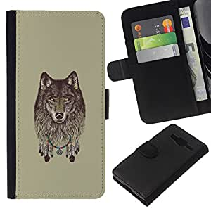 NEECELL GIFT forCITY // Billetera de cuero Caso Cubierta de protección Carcasa / Leather Wallet Case for Samsung Galaxy Core Prime // Lobo gris - Dreamcatcher