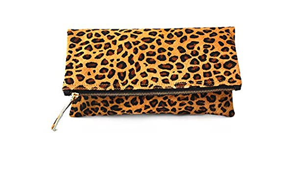 innovative design boy outlet online Amazon.com: Leopard Print Haircalf Fold over Clutch, Evening ...