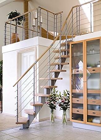Ahorro de espacio escaleras Dolle Berlín en madera de roble pintado de acero inoxidable barandilla y 12 pendientes: Amazon.es: Bricolaje y herramientas