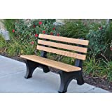 4' Comfort Park Avenue Bench, Recycled Plastic, Cedar