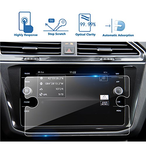 LFOTPP 2018 Volkswagen Tiguan 8 Inch VW Tempered Glass Car Navigation Screen Protector, [9H] Infotainment Center Touch Display Screen Protector Anti Scratch High Clarity by LFOTPP