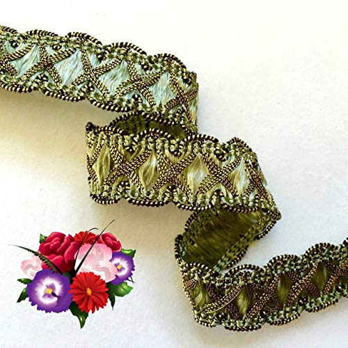 Crossover Trim (Decorative notions and Trims - 5/8 inch Wide sage and Metallic Gold Crossover Braid Price for 1 Yard - Embellish Garments, Pillows and Home d?cor)