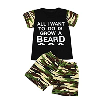 Baby Clothes Sets, 2pcs Toddler Baby Kids Boy T-Shirt Top+Camouflage Shorts Outfits by WOCACHI