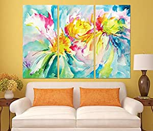 Floral And Botanical Wooden Tableau, 190x130 Cm - Set Of 3 Pieces