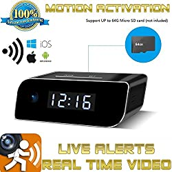 Camera Wifi Clock Baby Monitor Nanny Cam Motion Activated Detection Night Vision 1080p HD Supports 64GB Micro SD Mobile App Wireless Live Video Playback On iOS Android Home Hotel Office Surveillance