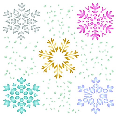 Snowflake Stencil - 8.5 x 8.5 inch (L) - Christmas Winter Large Reusable Wall Stencils for Painting - Use on Paper Projects Walls Floors Fabric Furniture Glass Wood etc.