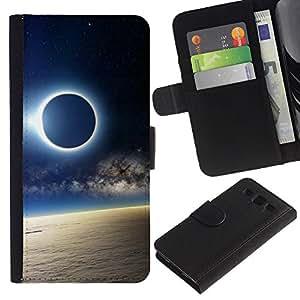 YiPhone /// Tirón de la caja Cartera de cuero con ranuras para tarjetas - Solar Eclipse de Luna - Samsung Galaxy S3 III I9300