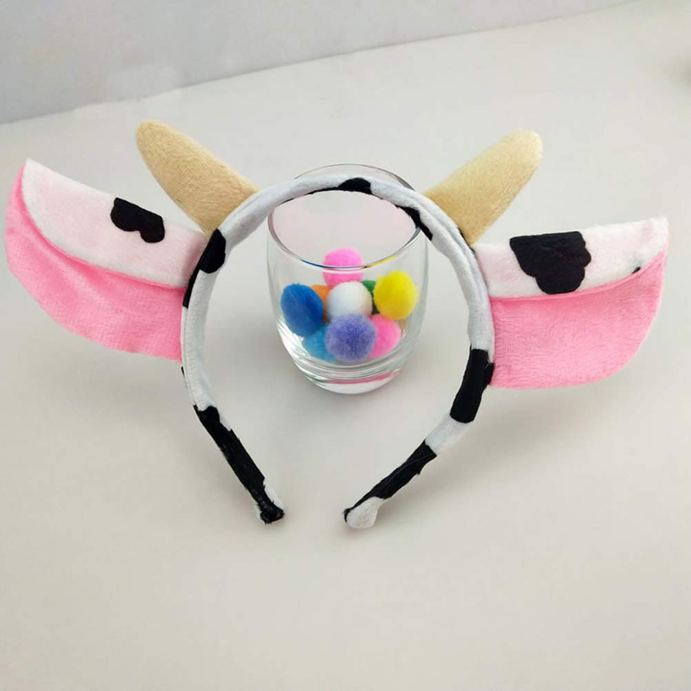 3 Unids Orejas de Vaca Diadema Cola Bowtie Set para Ni/ños Ni/ños Fiesta de Cumplea/ños Disfraz de Halloween